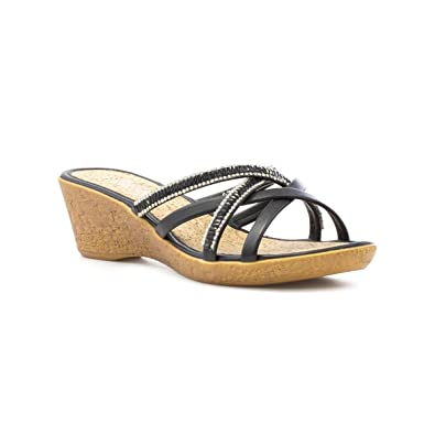 ce62ba823d2 Lilley Womens Black Strappy Wedge Mule Sandal