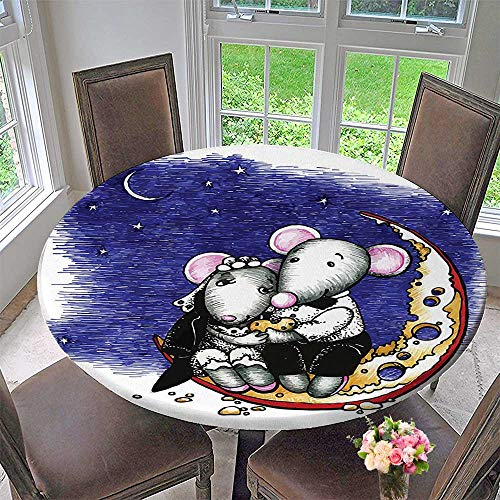 Mikihome Modern Table Cloth Mouse Couple Sitting on The Cheese Flavoured Bride and Groom Valentines Wedding Theme Indoor or Outdoor Parties 63