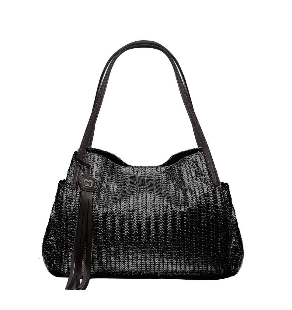 Eric Javits Luxury Fashion Designer Women's Handbag - Aura - Black