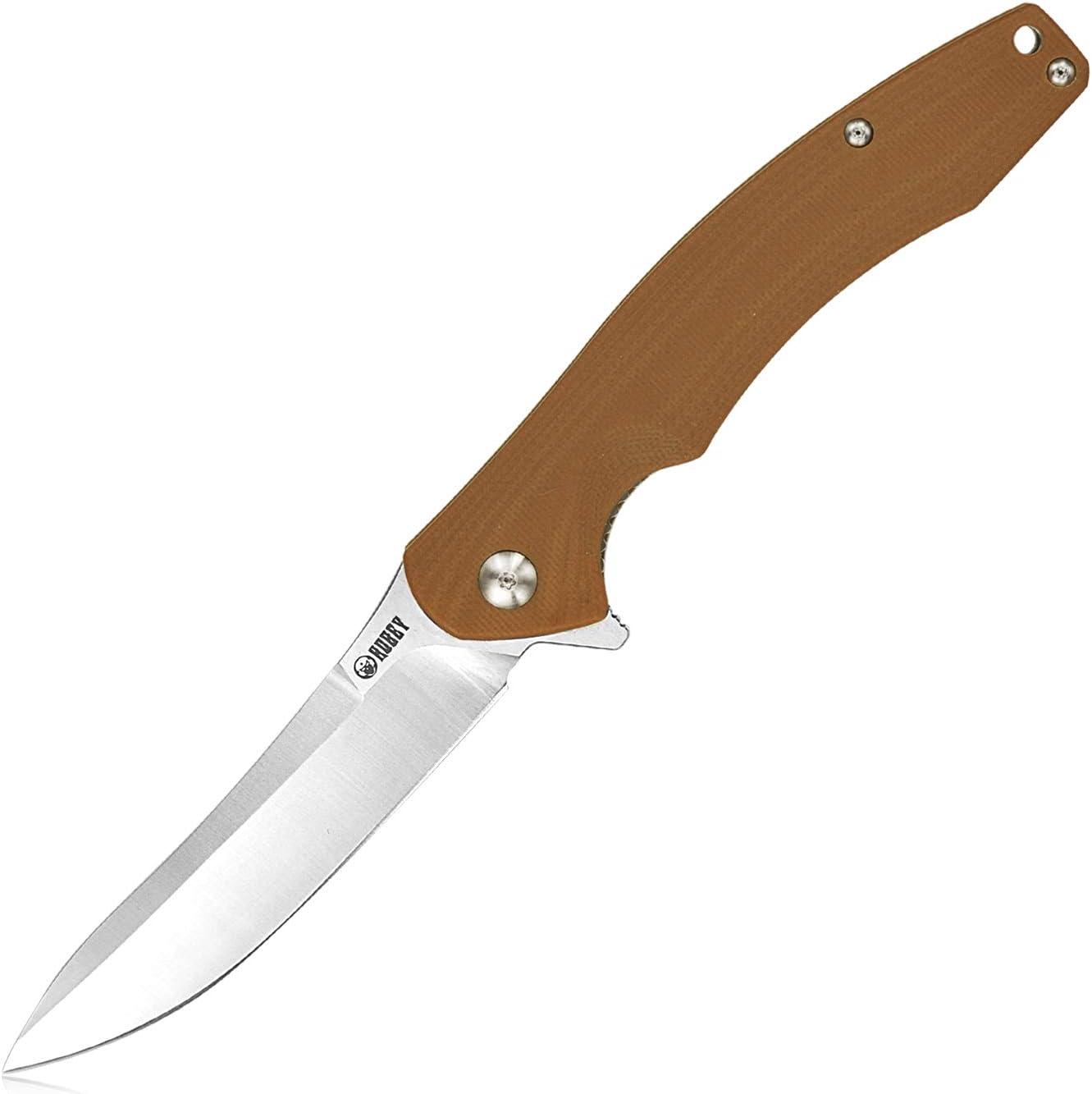 Kubey KU176 Couteau pliant Couteau de Poche avec Lame en Acier D2 et Manche G10, Extérieur Survie et EDC Couteau (Tan)