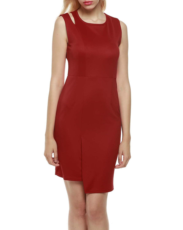 Zeagoo Damen Bodycon Cocktailkleid Etuikleid Business Kleid mit Cut ...