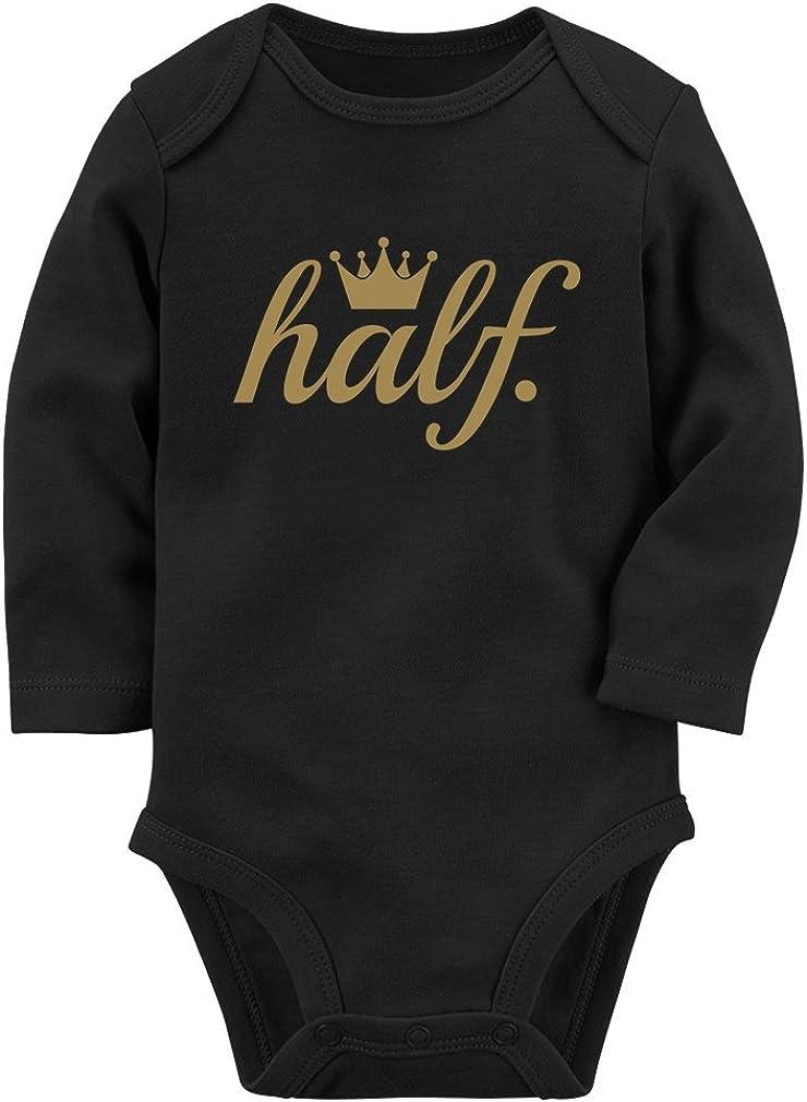Tstars Half Birthday Gift for Baby 1//2 Birthday Golden Crown Baby Long Sleeve Bodysuit