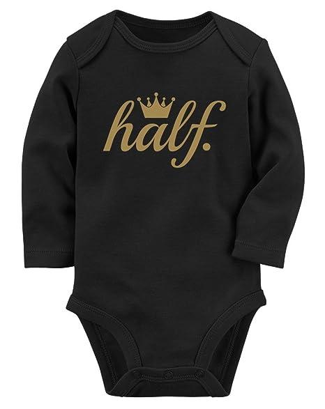 Half Birthday Gift For Baby 1 2 Golden Crown Long Sleeve Bodysuit NB