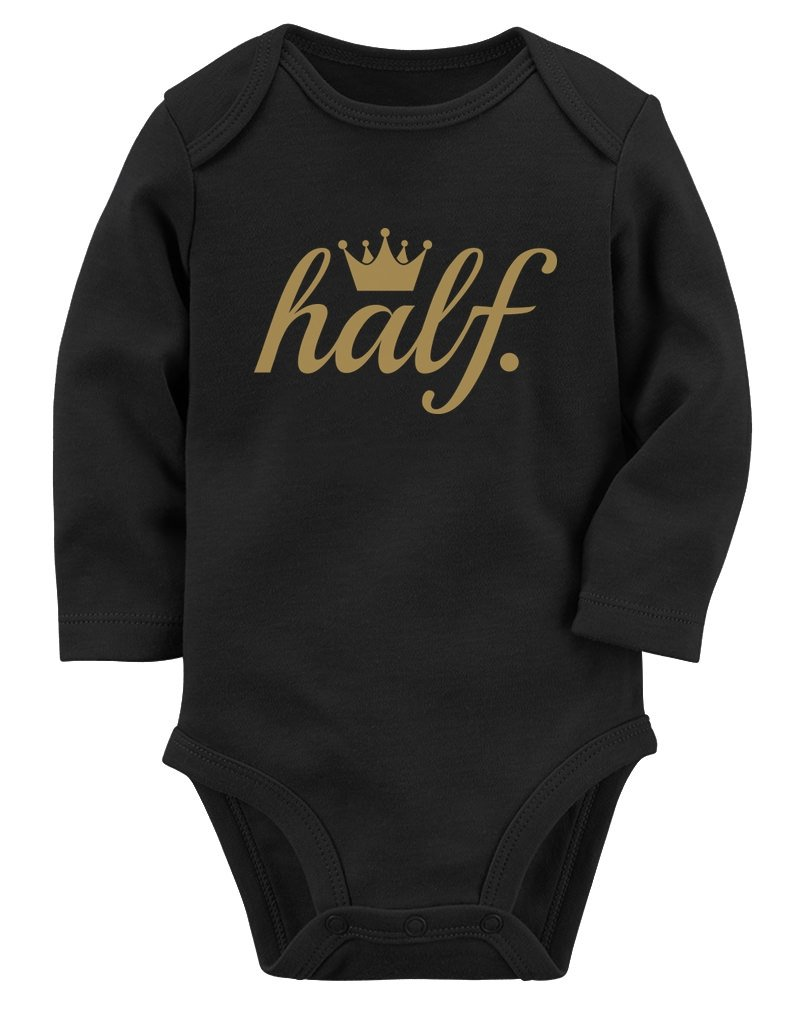 Half Birthday Gift for Baby 1/2 Birthday Golden Crown Baby Long Sleeve Bodysuit
