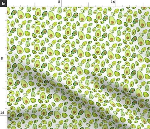 Spoonflower Avocado Fabric - Garden Vegetable Food Garden Green Food Veggie Salad Avocado Watercolor by Positivelyradishing Printed on Satin Fabric by The Yard