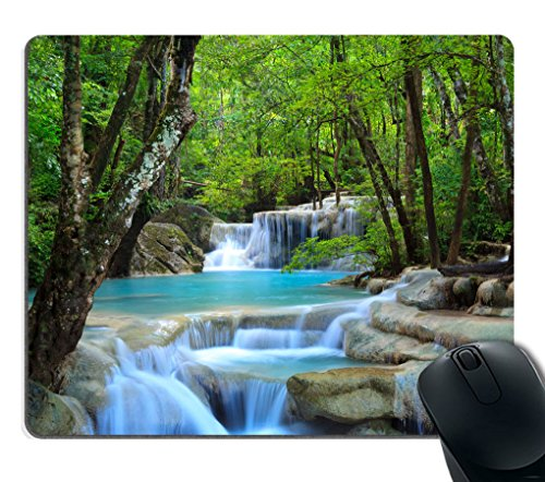 Creek Waterfall - Smooffly Gaming Mouse Pad Custom,Waterfalls Forest Creek Landscape Trees Waterfall Stones Non-Slip Thick Rubber Mouse pad,9.5 X 7.9 Inch (240mmX200mmX3mm)