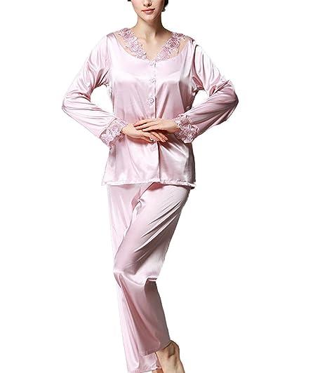 303d75bc6b4f Assky Women s Pajamas Tops and Pants Sets Satin