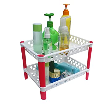Honla 2 Tiered Plastic Bathroom Shelves Organizer with Perforated Storage  Baskets Small Shelving Units. Amazon com  Honla 2 Tiered Plastic Bathroom Shelves Organizer with