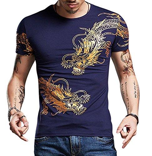 (CRBT Mens Form Fitting T Shirt Soft Short Sleeves Top Muscle Cotton Shirts (Medium, Navy))