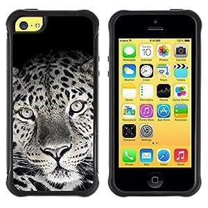 LASTONE PHONE CASE / Suave Silicona Caso Carcasa de Caucho Funda para Apple Iphone 5C / Cute Lovely Leopard Fur Pattern Black White