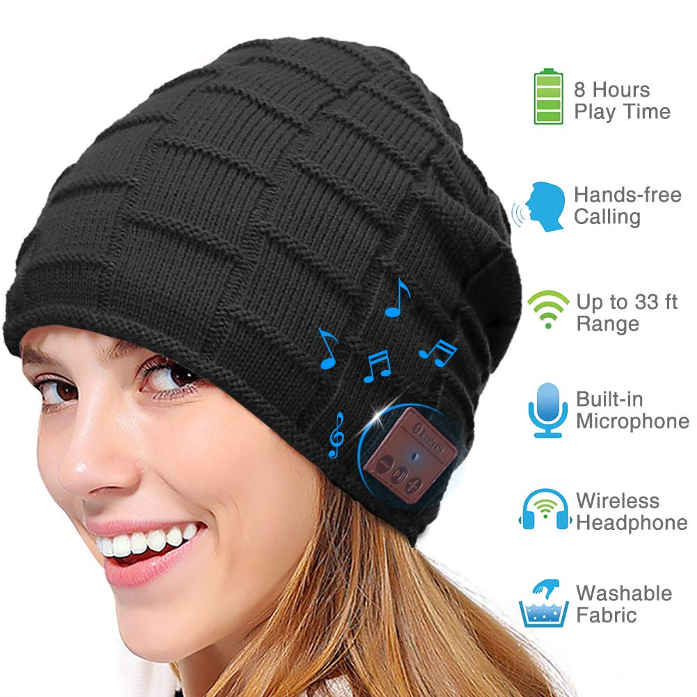 a4bf34184 Bluetooth Beanie Hat, Smart Wireless Music Beanie for Men and Women,  Cashmere Warm Ski Music Hat Knit Gift Cap with Earphones for Winter Cycling  ...