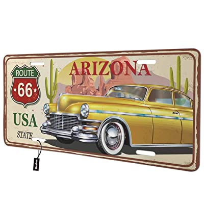 Beabes Arizona Route 66 USA State Front License Plate Cover,Retro Vintage Car Cactus Decorative License Plates for Car,Aluminum Novelty Auto Car Tag Vanity Plates Gift for Men Women 6x12 Inch: Automotive