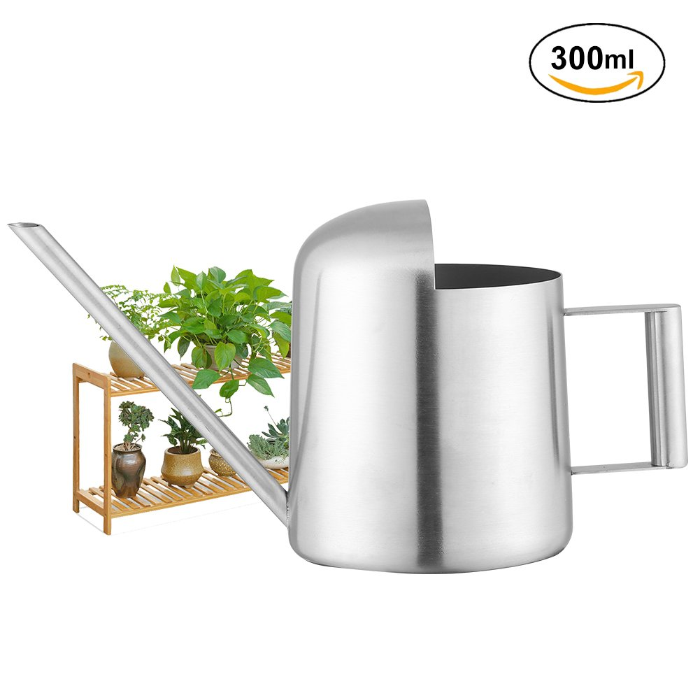 Fdit Watering Can Stainless Steel Watering Pot Long Mouth Design for Plants Houseplant Patio Plants Hanging Plants and Outdoor Gardens(300ML)