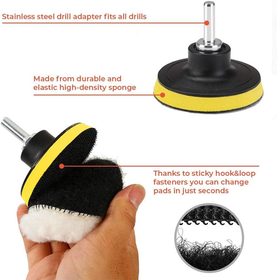 Almohadillas de pulido para encerar Kit de esponja de pulido pulir y sellar con adaptador de taladro CANOPUS 11 PZ // 80 mm Almohadillas de pulir para coche Esponja pulir Coche