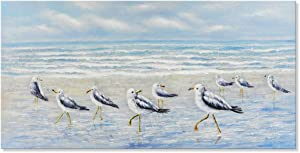 Seaside Pictures Ocean Beach Theme Wall Art Sea Birds by The Sea Shore Decor Seagull Oil Painting Canvas Artwork Gallery Wrapped for Living Room Bedroom Bathroom Easy to Hang