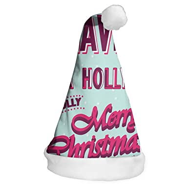 a03d257f09aeb Amazon.com  Custom Holiday Christmas Party Hats-Have A Holly Jolly Merry  Christmas Christmas Hats for Adults and Kids  Clothing
