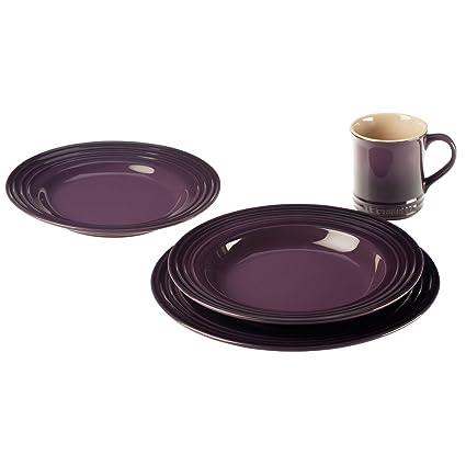 Le Creuset 4-pc. Stoneware Place Setting Cassis Purple  sc 1 st  Amazon.com & Amazon.com   Le Creuset 4-pc. Stoneware Place Setting Cassis Purple ...