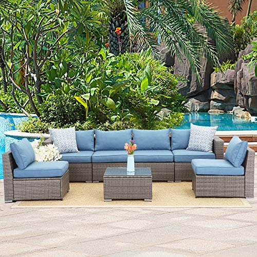 Wisteria Lane 7 PCS Outdoor Furniture Set,Wicker Sectional Sofa with Sophisticated Glass Coffee Table,Upgrade Blue Cushion