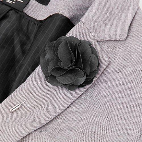 Broche à Fleur pour Cravate Col Revers T-shirt Noir
