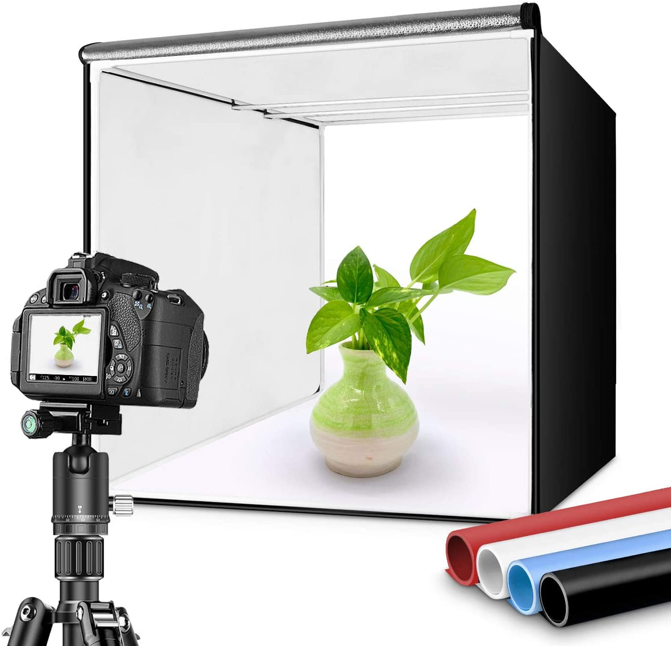"Travor Photo Box 16""/40cm Photo Studio Light Box Portable Photography Shooting Tent with Movable LED Lights, Dimmable Table Top Light Tent with 4 Color Backdrops (White Black Red Blue), CRI95+"