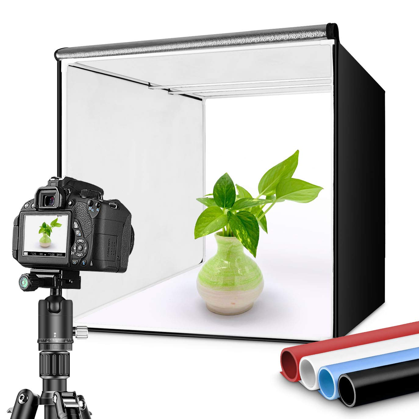 TRAVOR Photo Box 16''/40cm Photo Studio Light Box Portable Photography Shooting Tent with Movable LED Lights, Dimmable Table Top Light Tent with 4 Color Backdrops (White Black Red Blue), CRI95+ by Travor