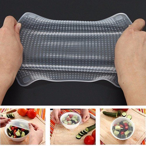 Ayutthaya shop Home Kitchen Tool Clear Square Reusable Silicone Food Wrapper Seal Cover - Allen Outlet Store Hours