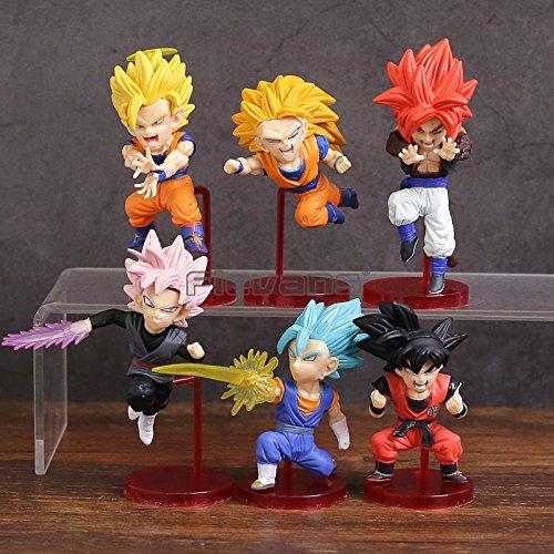 Dragon Ball Super Saiyans Bravery vol.1 Son Goku Vegetto Gogeta PVC Figures Toys 6pcs/set (Dragon Ball Gt The One Star Dragon)