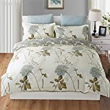 king side duvet cover - Duvet Cover King, Style Bedding Cotton Pintuck Duvet Cover and Shams 3pcs Bedding Set Double Side Printed Floral Reversible Comforter Insert Protector with Hidden Zipper and Corner Ties (King Size)