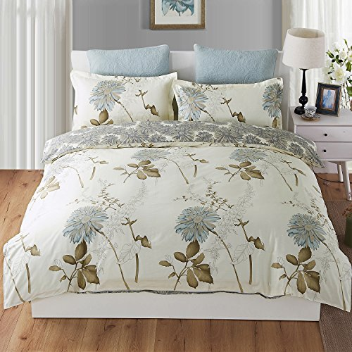 Duvet Cover Twin, Style Bedding Cotton Pintuck Duvet Cover and Shams 3pcs Bedding Set Double Side Printed Reversible Comforter Insert Protector with Hidden Zipper and Corner Ties (Twin Size) - Double Duvet