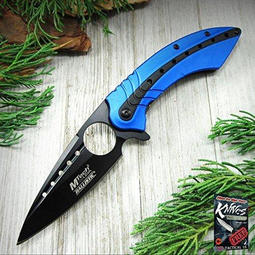 Pocket Elite Spring Assisted Folding Knife Mtech Blue Black Blade Finger Hole Tactical + free eBook by ProTactical'US -