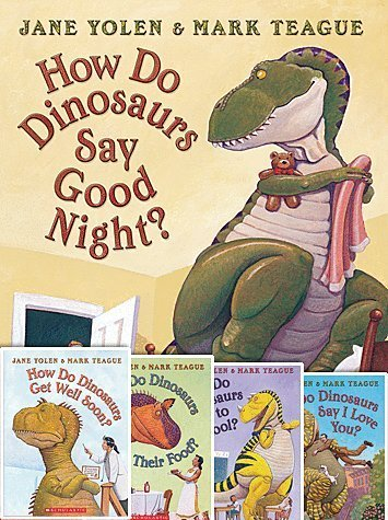 Set of 5 How Do Dinos Books By Jane Yolen & Mark Teague Includes How Do Dinosaurs Go to School?, Say I Love You?, Say Goodnight?, Get Well Soon?, & Eat Their Food?