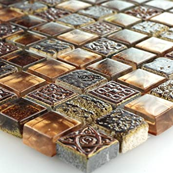 Glas Marmor Mosaik Fliesen Braun Gold Glasmosaik 15x15x8mm