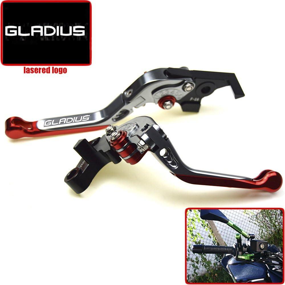 Regolabile cavalletto pieghevole allungabile freno leve frizione per Suzuki SFV650/Gladius 09/10/11/12/13/con logo Gladius