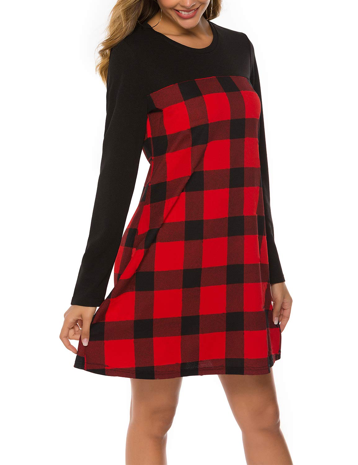 Blooming Jelly Women\'s Casual Plaid Dress Long Sleeve Round Neck Color Block Swing Tunic Dress(S, Red)