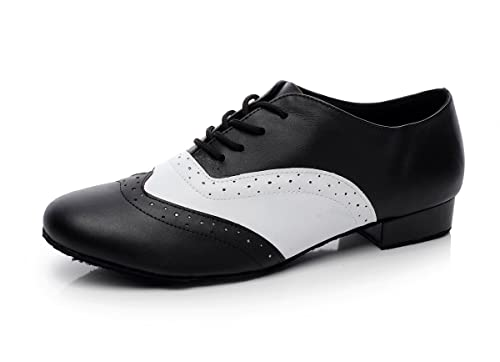 1940s Mens Shoes | Gangster, Spectator, Black and White Shoes  Mens 1 Heel Leather Modern Salsa Tango Ballroom Latin Dance Shoes Minishion QJ9011 $42.99 AT vintagedancer.com
