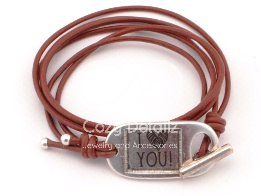 custom engraving clasp bracelet, mens brown leather bracelet, rustic bracelet for men, brown leather bracelet, gifts for men, unisex bracelet, FREE SHIPPING