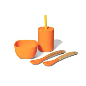 Avanchy Silicone La Petite Essential Collections Gift Set Orange - Includes Mini Silicone Bowl, Silicone Cup, and Bamboo Baby and Infant Spoons - Baby Food Set - Baby Shower Gifts