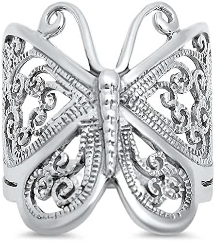 Filigree Butterfly Solid .925 Sterling Silver Ring Sizes 4-13