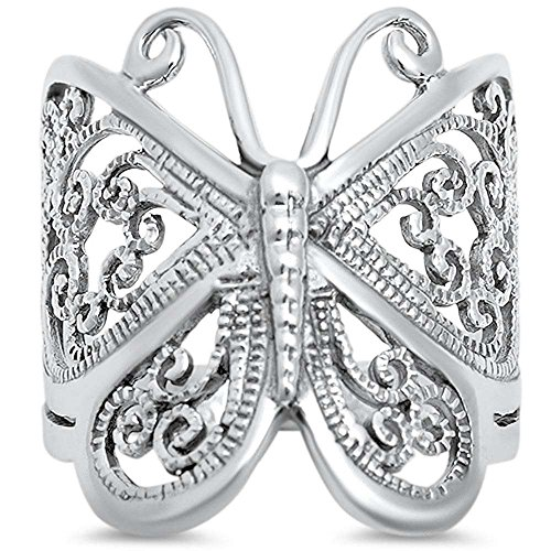 (Filigree Butterfly .925 Sterling Silver Ring Size 9)