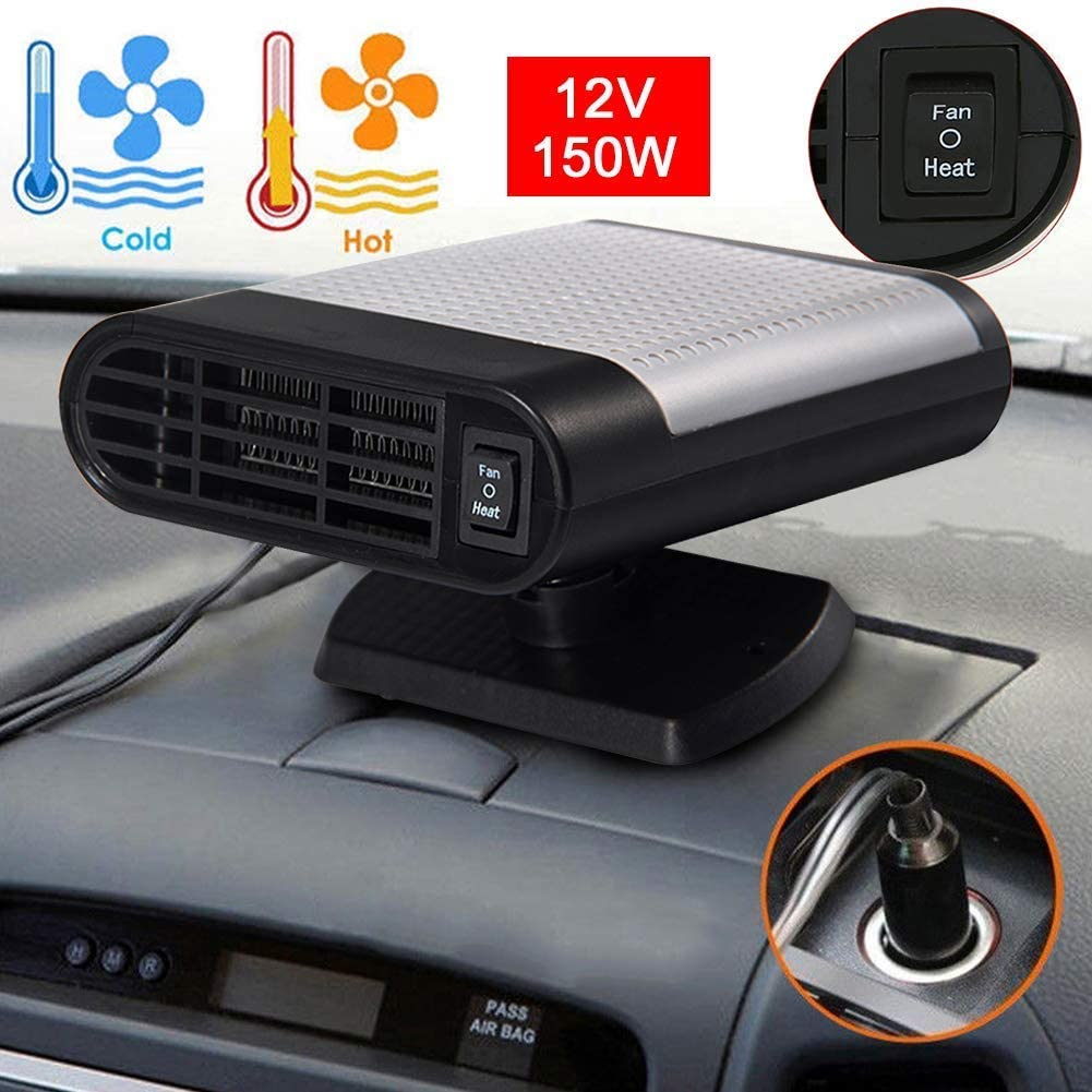 Gray Car Heater 2 in 1 Heating//Cooling Function Portable Auto Electronic Heater Fan Fast Heating Defrost 12V 150W Car Defrost Defogger