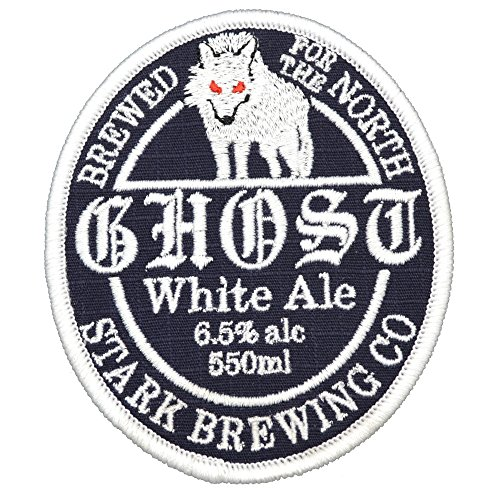 (Ghost White Ale Stark Brewing Game of Thrones Parody Patch 4 inch Round)