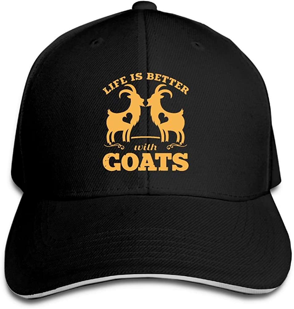 JustQbob1 Life is Better with Goats Outdoor Snapback Sandwich Cap Adjustable Baseball Hat Hip Hop Hat