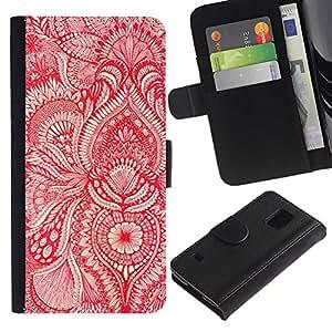 KLONGSHOP / Tirón de la caja Cartera de cuero con ranuras para tarjetas - Wallpaper Red White Floral Blooms Flower - Samsung Galaxy S5 V SM-G900