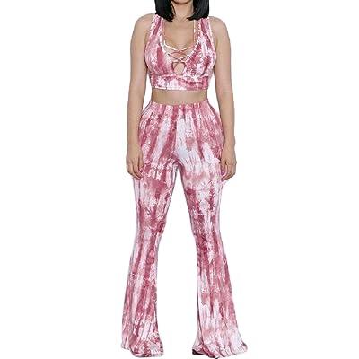 a28386dd2bb Abetteric Women s Cozy Bandage Tie-Dye Flare 2 Piece Set Strapless Jumpsuit  Romper Trousers Pants