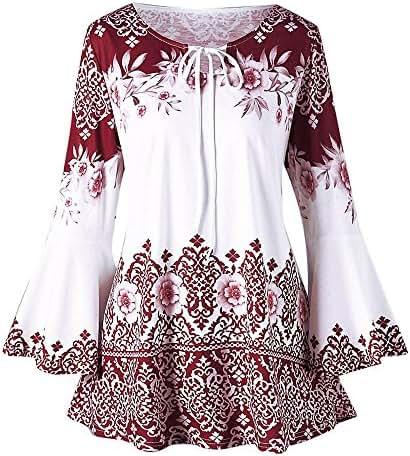 Sweatshirt Dress Women Knee Length Fashion Plus Size Printed Flare Sleeve Tops Blouses Keyhole T-Shirts
