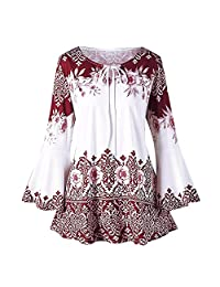 Sumen Fashion Womens Plus Size Tops Printed Flare Sleeve Blouses Keyhole T-Shirt