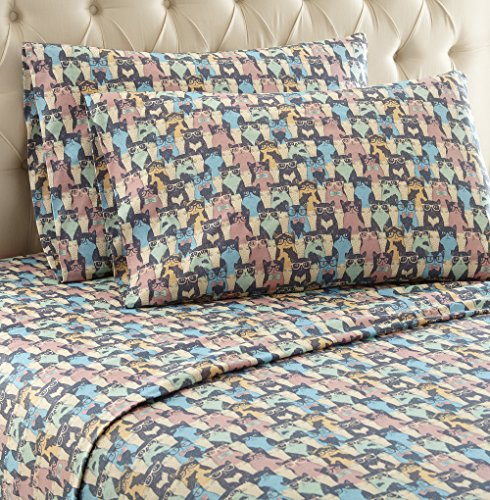 Thermee Micro Flannel Shavel Home Products Sheet Set, Queen, Cat Party