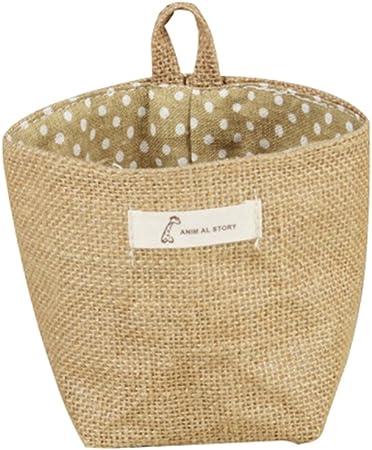 Lumanuby 1pcs Sac de rangement sac de transport Sac de voyage Coton lin tissu pot de fleurs petit sac suspendu jute petit rayures panier de rangement Motif de rayures rouges 14*12.5CM