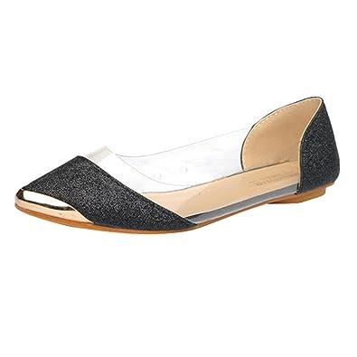 a67c0f9613a3 VFDB Fashion Glitter Transparent Ballet Shoes Sparkling Embellish Slip On Jelly  Flats Black