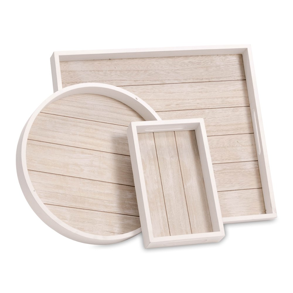 WHW Whole House Worlds Cape Cod Shiplap Trays, Rustic White with Natural Inset, Sustainable Wood, Set of 3, Variety of Sizes